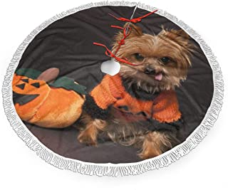 BNMDK Yorkie Dressed in Halloween Costume Christmas Tree Skirt Elegant Tree Skirt Xmas Tree Ornament Christmas Decoration for Xmas Party and Holiday Decorations