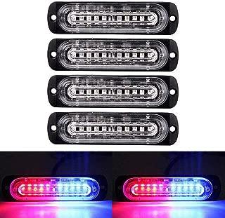 XT AUTO 4.4-inch Ultra Thin Slim Strobe 10 LED Light Head Emergency Hazard Beacon Caution Warning Strobe Lights for Truck Car Vehicle Law Enforcement Snow Plow Red Blue 4-Pack