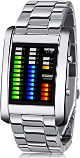 Men's Digital Watch Binary Time LED Display Waterproof Alloy Band Stopwatch Creative Sport Army Wristwatches