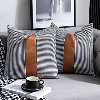DEZENE Farmhouse Decorative Throw Pillow Covers, Set of 2 18x18 inch Striped Faux Leather Accent Pillow Boho Modern Decor Pillow Case for Couch Sofa, Brown