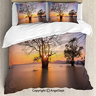 SfeatruAngel Luxe Bedding SetsDawn Time at Asian Seascape with Autumn Trees in Water Habitat Theme,King Size,Microfiber 3 Piece Duvet Cover Set, Beding Set,Blue Yellow