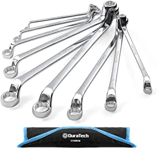 DURATECH Offset Box Wrench Set, Metric, 9-Piece, 6-23mm, 75-Degree, Chrome Vanadium Steel Construction with Rolling Pouch