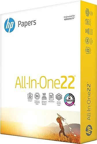 HP Printer Paper 8.5x11 AllInOne 22 lb 1 Ream 500 Sheets 96 Bright Made in USA FSC Certified Copy Paper HP Compatible...