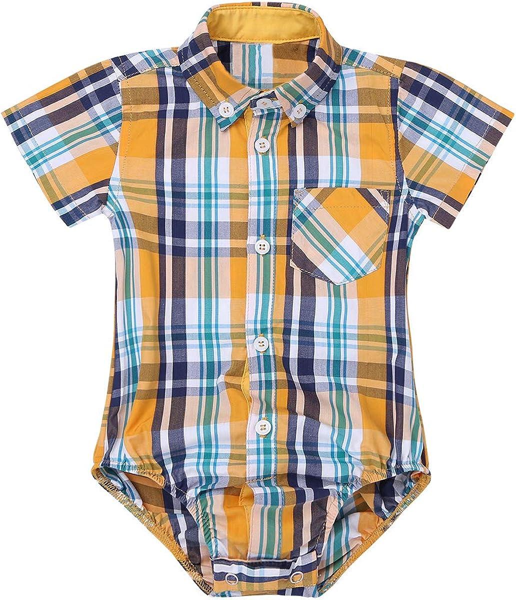 inlzdz Bebé Body Camisa Cuadros de Verano Mameluco Manga Corta Mono con Bolsillo Pelele de Algodón Suave Playsuit Infantil Ropa para Niños 0-24 Meses