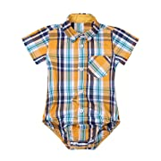 Agoky Infant Baby Boys Short/Long Sleeves Summer Spring Autumn Plaid Shirt Romper Jumpsuit Yellow Short Sleeves 6 Months