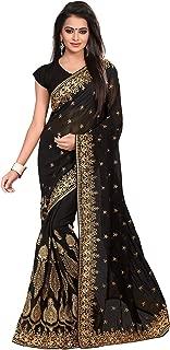Saree for Women Indian Ethnic Sari in Black Georgette