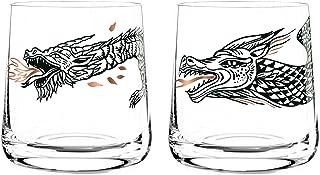 Dekomiro Ritzenhoff Whisky Whiskeyglas 2er Set Frühling 2020 von Olaf Hajek Drache und Lindwurm mit Glasreinigungstuch