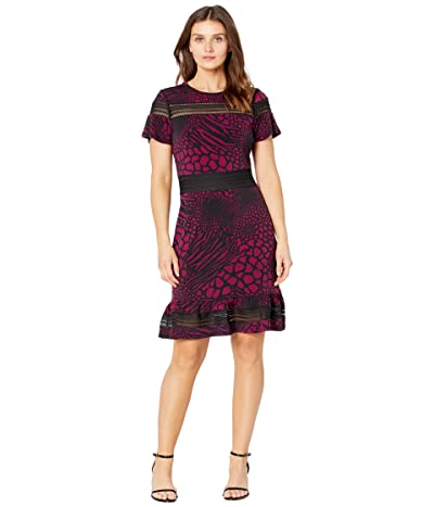 MICHAEL Michael Kors Petite Animal Mesh MX Short Sleeve Dress (Dark Ruby) Women