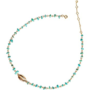 Shell Necklace Choker Turquoise Necklace - Summer Necklace Boho Jewelry for Women 14k Gold Jewelry Necklace for Women Turquoise Jewelry Simple Necklace Bead Necklace Summer Jewelry for Women