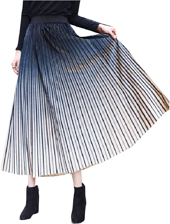 Mfasica Women Velour High Waist Accordion Pleated Gradient Ramp Skirt