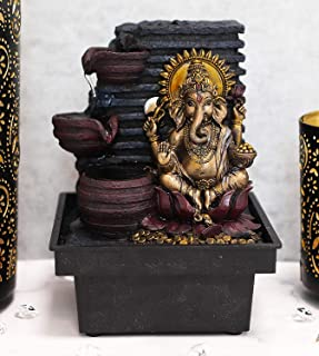 Ebros Gift Hindu Vastu Elephant God Ganesha Meditating Table Desktop 3 Step Water Fountain Waterfall Statue Decorative Wat...