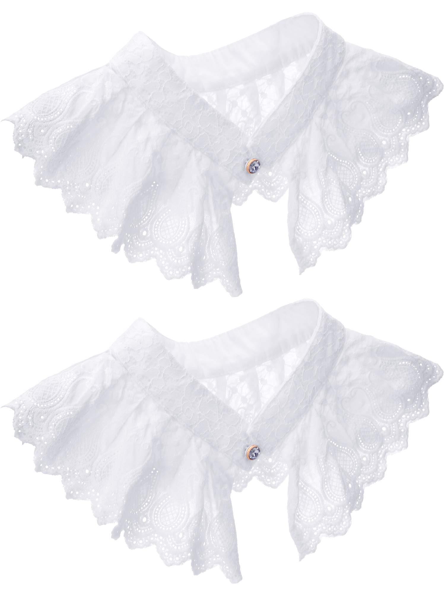 2 Pieces Lace Faux Collar Costume False Lace Collar Decorative Pleated Spread Choker Blouse Collar White