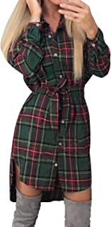 Style Dome Vestido Mujer Camisa Blusa a Cuadros Cinta