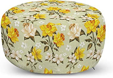 Ambesonne Vintage Ottoman Pouf, Narcissus Blossoms Little Wildflowers Green Leaves Classical, Decorative Soft Foot Rest with