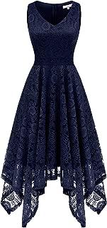 Women's Vintage Lace V-Neck Asymmetrical Handkerchief Hem Cocktail Formal Swing Dress