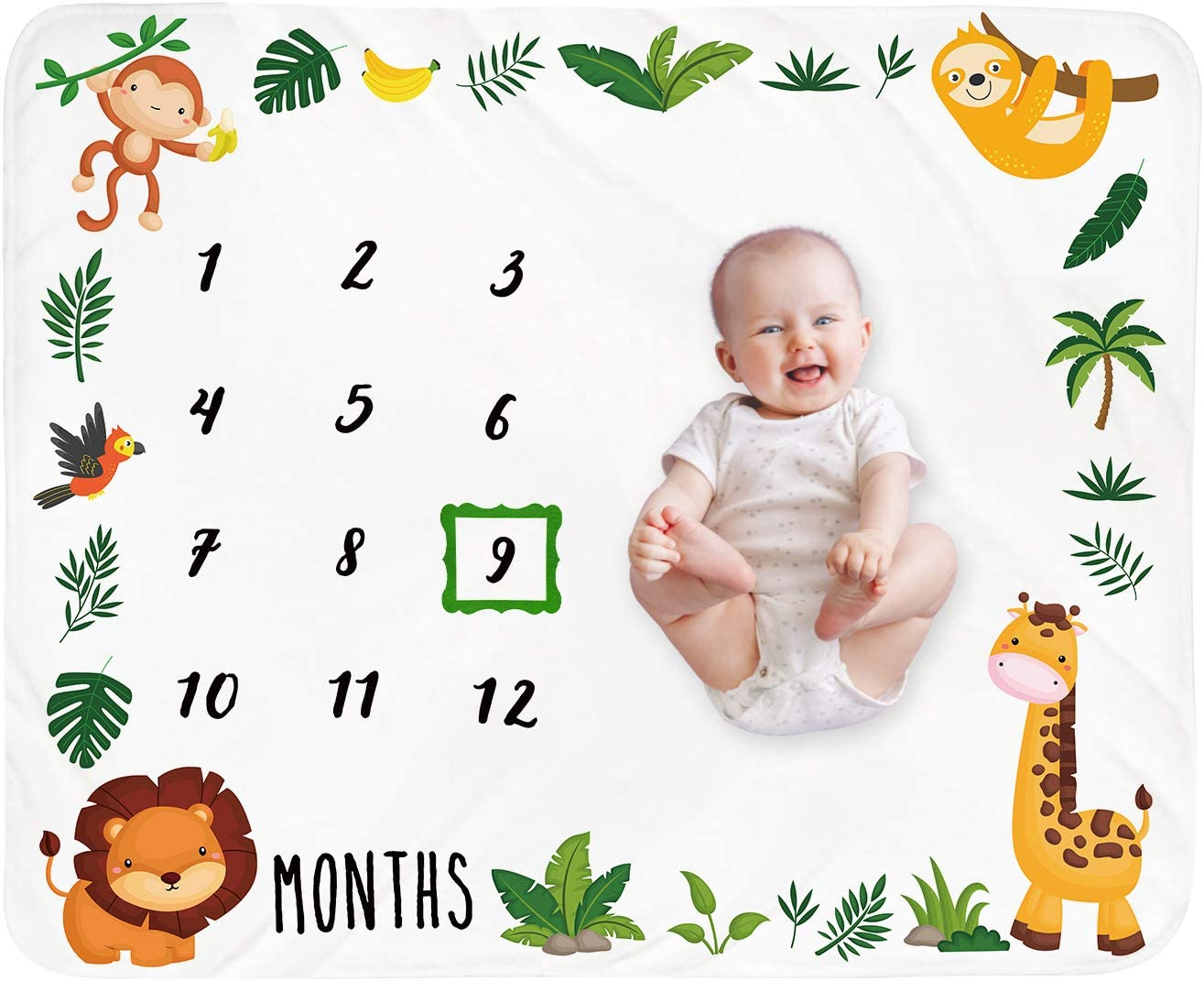 Baby Monthly Milestone Blanket Boy - Jungle Animals Neutral Newborn Month Blanket for Boy & Girl Personalized Shower Gift Safari Nursery Decor Photography Background Prop with Frame Large 51''x40''