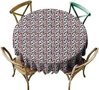UETECH Outdoors Round Tablecloth London,UK English Landmarks Printed Tablecloth Diameter 54