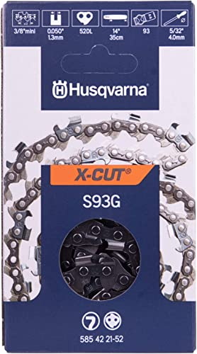 """new arrival Husqvarna outlet online sale Chainsaw Chain 14"""" .050 Gauge 3/8 Pitch x-Cut High Durability Superior Lubrication Works Longer online sale Without Needing to Be Adjusted, Orange/Gray (S93G) outlet sale"""