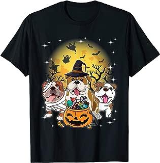 English Bulldog Mummy Witch Dog Moon Ghosts Halloween Shirt