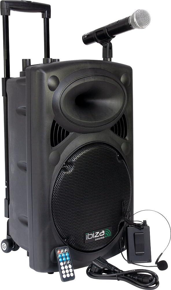 Ibizaimpianto audio portatile cassa attiva 700 watt, ingressi usb sd mp3, 2 microfoni, cuffie, batteria integr 15-6020