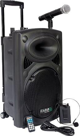 Ibiza Port12VHF-BT-WH Impianto audio portatile cassa attiva (700 Watt, ingressi USB SD MP3, 2 microfoni, cuffie, batteria integrata, telecomando) - nero