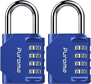 Puroma 2 Pack 4 Digit Combination Locks School Gym Locker Padlock (Blue)
