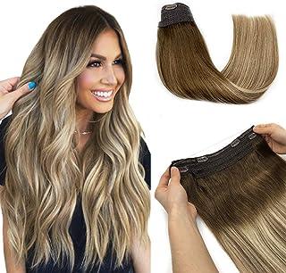 Halo Hair Extensions, Fish Line Human Hair Extensions, Flip in Remy Hair Extensions, Walnut Brown to Ash Brown and Bleach ...