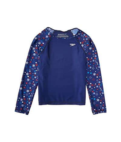 Speedo Kids Long Sleeve Print Sleeve Rashguard (Big Kids) (Red/White/Blue) Girl