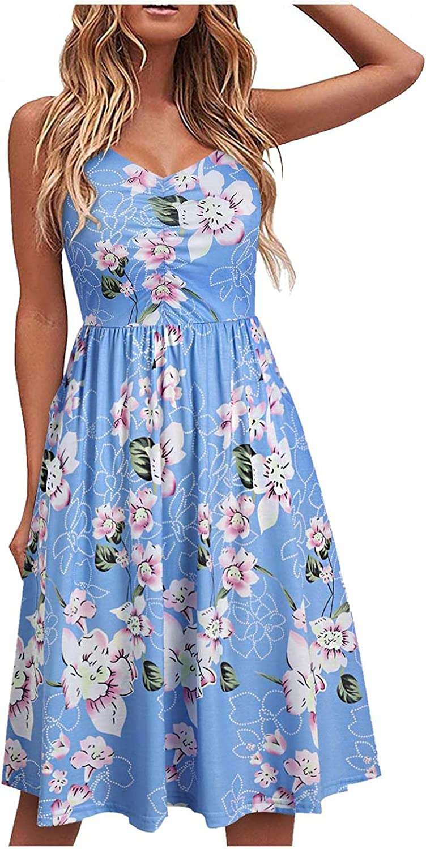 XYING Summer Dresses for Women Floral Printed Sundress Sleeveless Loose Tank Dress Mini Dress Knee-Length Beach Dress