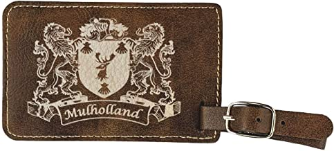 Mulholland Irish Coat of Arms Luggage Tag(set of 2) - Rustic Leather