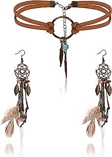 Finrezio Leather Choker Necklace Earring Set for Women Girls Handmade Bohemian Dream Catcher Long Faux Feather Drop Dangle...