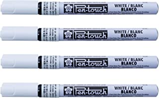 Sakura Pen-Touch paint marker 0.7 mm, permanent ink Extra fine point white color, Pack of 4
