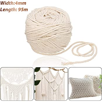 Jeteven Cuerda Cordel de Algodón Hilo Macramé 100% Natural Trenzado Algodón DIY Planta de Colgar en la Pared Percha Hecha a Mano Craft para Decoración Interior Decoración Bohemia 4mm x 95m: Amazon.es: