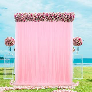Pink Tulle Backdrop Curtain for Baby Shower Wedding Birthday Party Decorations Photo Booth Photography Background 5 ft X 7 ft