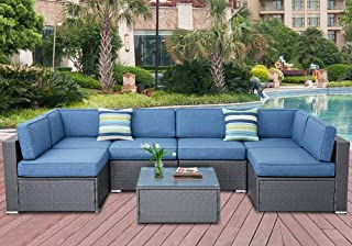 SOLAURA 7-Piece Outdoor Furniture Set, Wicker Furniture Modular Sectional Sofa Set with YKK Zipper &Coffee Table with Waterproof Cover - Gray/Denim Blue