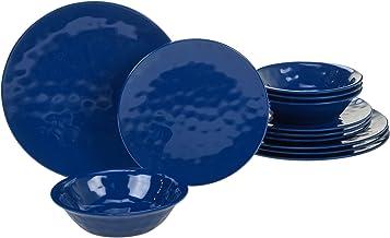 مجموعة أواني طعام 89211RM ميلامين من 12 قطعة من مجموعة أدوات المائدة المعتمدة العالمية، خدمة لـ 4، أزرق كوبالت