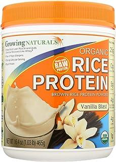 2 Pack of Growing Naturals Organic Raw Rice Protein - Vanilla Blast - 16.4 oz - 95%+ Organic - Gluten Free - Dairy Free - Wheat Free - Vegan