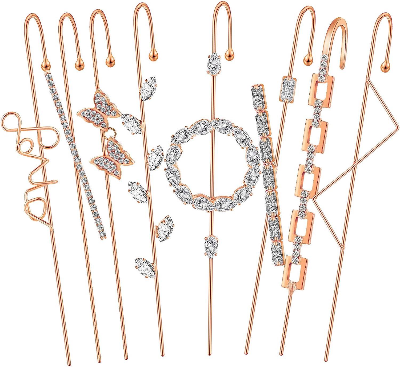8 Pieces Ear Cuff Wrap Crawler Hook Earrings Cubic Zirconia Rhinestone Cuff Earring Climber Piercing Earrings for Women