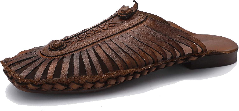 Damen Retro Sandalen mit niedrigem Absatz Personalisierte gestreifte atmungsaktive Hausschuhe Lssige Flache Schuhe aus echtem Leder Frühling und Sommer