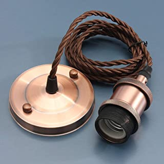 KINGSO E27 Lámpara Colgante Vintage Retro Base de la Lámpara Edison Antique 110-250V Adaptador Zócalo de Cobre con Cable 2m O Rose