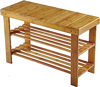 Wooden de Life bambú zapatero Asiento banco zapatero Zapatos Banco baño Estantería de bambú 3Repisa de 70x 45x 28cm (BxHxT)
