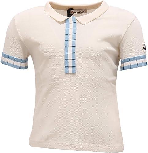 MONCLER 7137Y Polo Girl Bimba Maglia Polo t-Shirt blanc lumière bleu