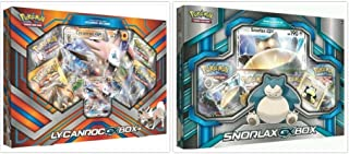 Pokemon Lycanroc GX Collection Box and Snorlax GX Box Card Game Bundle, 1 of Each