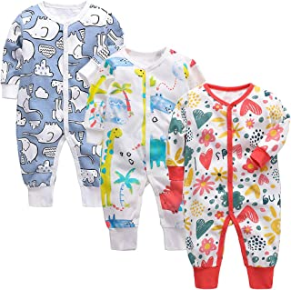 amropi Unisex Baby Boys Print Rompers 3-Pack Long Sleeve Jumpsuit One-Piece Outfits for 0-24 Months