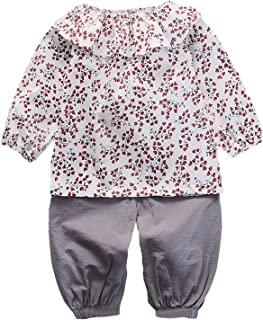Chumhey Baby & Little Girls Ruffled Collar Allover Floral Printed T-Shirt Elastic Waist 2Pcs Pants Set