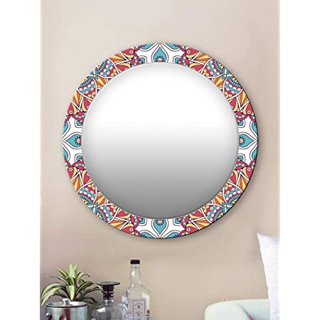 999Store Printed red and Yellow Abstract Round Mirror ( MDF_17X17 Inch_Multi)