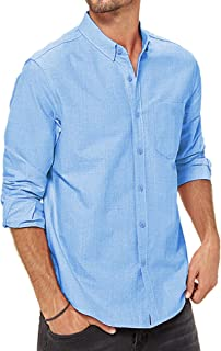 LecGee Men's Cotton Linen Shirts Casual Button Down Long Sleeve Regular Fit Beach Shirts