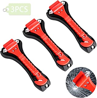 Petutu Car Emergency Escape Tool 3 Pack, Safety Hammer, Car Window Glass Breaker with Seat Belt Cutter