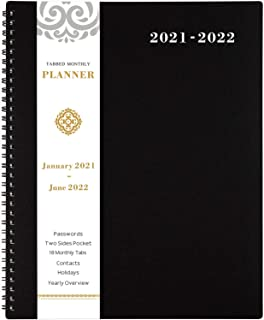 "2021-2022 Monthly Planner/Calendar - 18-Month Planner with Tabs & Pocket & Label, Contacts and Passwords, 8.5"" x 11"", Thic..."