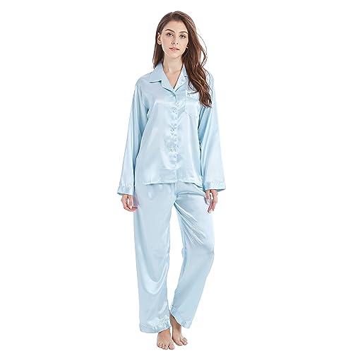 e122809a48 Tony   Candice Women s Classic Satin Pajama Set Sleepwear Loungewear